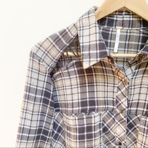 Free People plaid gray button down XS